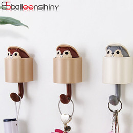 squirrel clothing NZ - BalleenShiny ABS Creative Squirrel Hat Clothes Storage Hook Lovely Wall Adhesive Bags Umbrella Hanger Gadgets Decor Holder Rack