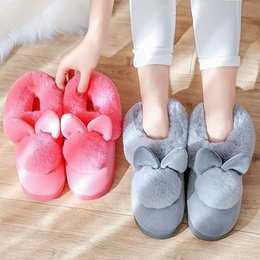 Flat slippers For ladies online shopping - women s shoes for indoor use fashion cute bunny ears soft home slippers cotton warm winter ladies slippers zapatos mujer NA287