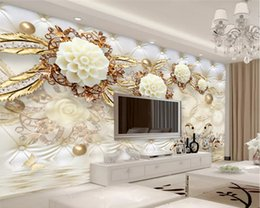 Soft White Paper Australia - Custom 3d Luxury Golden White Flowers Soft Bag Ball Jewelry Tv Background Papel De Parede 3d Wall Papers Home Decor