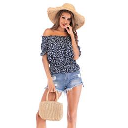 StyliSh women chiffon topS online shopping - 2019 new Slash Neck Sexy Puff Sleeve chiffon Blouse Women Stylish Summer Tops Streetwear Fashion Shirts Fitted Waist Slim Tees