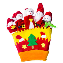$enCountryForm.capitalKeyWord Australia - Christmas Thumb Toy Gloves Snowman Santa Claus Cloth Doll Glove Christmas Decorations Plush Finger Cartoon Doll Story Telling Ac