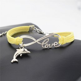 silver dolphin bracelet NZ - Silver Color Infinity Love Dolphin Animal Pendant Charm Bracelets For Women Men Yellow Leather Suede Rope Bracelets Bangles pulseira Jewelry