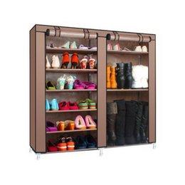 Doble de zapatos de arranque armario estantes de almacenamiento Organizador Gabinete Portable- 9 Capa Zapatos de almacenamiento de soporte tela no tejida del polvo anti rack en venta