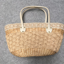 $enCountryForm.capitalKeyWord Australia - Straw plaited leather handle handle large capacity paper rope braid hand carry bag of restoring ancient ways to go vacationing beach female