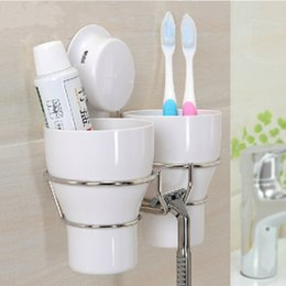 plastic tooth holders NZ - Hot Wall Toothbrush Holder Set With 2 Wash Tooth Brush Mug Storage Cup Decorative Bathroom Shelf Bathroom Accessories Y19061804