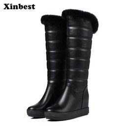 656048309df4 Xinbest 2018 New Woman Brand Casual Fashion Womens Winter Boots Round Toe  Knee High Boots Wedges Snow Thigh High