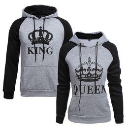 $enCountryForm.capitalKeyWord Australia - 2018 King Queen Crown Print Unisex Men Women Autumn Hoodies Slim Sweatshirt For Couple Lovers Winter Patchwork Hooded Pullovers Y190814