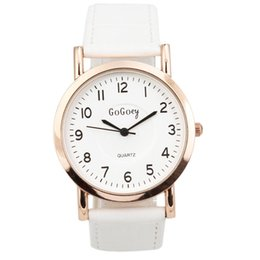 $enCountryForm.capitalKeyWord Australia - Fashion Men Women Watch White Dial Black Pointer Leather Strap Quartz Wrist Watch relojes para hombre relojes para mujer montre