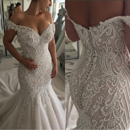 white pearl beach 2019 - Exquisite Mermaid Wedding Dresses 2019 Sheer Off Shoulder Tulle Lace Applique 3d Floral Court Train Wedding Bridal Gowns