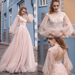 short blush wedding dresses Australia - Milva Beach Blush Pink Wedding Dresses with Puffy Long Sleeve 2019 V-neck Full Length Lace Applique Princess Garden Wedding Gown