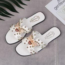 7c7e2d5f3 Summer New Slide Sweet Feather Flat Bottom Beach Female Sandals Flip Flops  Women Home Slippers Crystal Rivets Shoes