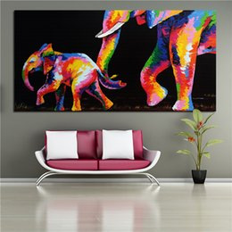 $enCountryForm.capitalKeyWord Australia - 100% Handpainted Abstract Graffiti Art Oil Painting Elephant Mother And Child On Canvas Wall Art Hppme Deco a79