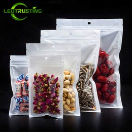 Sugar Bag Wholesale Australia - Leotrusting 200pcs lot Clear Front White Back Plastic Ziplock Bag Resealable Heat Sealing Zipper Pouch Coffee Sugar Cereals Storage Bag