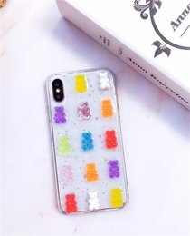 Transparent Silicone for iPhone 11 Pro MAX 7 8 Plus MAX XR Glitter Soft Cover Case Cute 3D Candy Colors Bear Phone Case