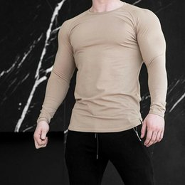 Wholesale black muscle shirt long sleeve online – design Hirigin Men s Slim Fit Long Sleeve Sports Shirts Muscle Tops Hoodie Casual Basic Tops