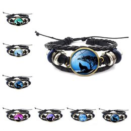 $enCountryForm.capitalKeyWord NZ - Moon Wolf Howling men bracelet Handmade Glass Cabochon charm Woven Leather Bangle Mens Punk bracelets DIY Jewelry for women