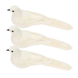 white bird decorations UK - 3 Pcs Artificial Feathered Pigeon Dove Birds for Wedding Decoration Home Garden Party Accessories, White
