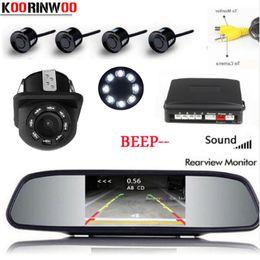 Cpu alarm online shopping - Koorinwoo Parktronic Car Monitor Dual Core CPU Parking Sensor Probe Alarm Backup Rear view camera Reverse RCA Video system