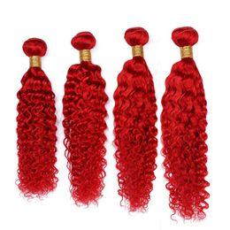 China Peruvian Deep Wave Pure Red Human Hair Bundles Deals 4Pcs 400Gram Bright Red Deep Curly Wave Virgin Human Hair Weave Wefts Mixed Length cheap red curly human hair suppliers