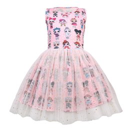 China Cute Surprise Girls Sleeveless Vest Summer Mesh Dress Cartoon Designer Cartoon Pompon Skirt Princess Birthday Party Gazue Dresses 2019 A3125 supplier sleeveless vest preppy suppliers