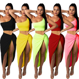 two piece crop top short sets Canada - Casual 2Pcs Set Women Crop Tops and Skirt Two Pieces Women Sexy Club Outfit Beach Short Tops Skirt Skinny Tracksuits Suits Set