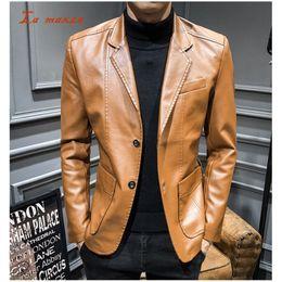 Mens Parka Leather Australia - Motorcycle Men Leather Jackets and Coats Punk Casual PU Moto Mens Jackets Fashion Streetwear Parkas