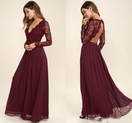 Lace Chiffon Burgundy Bridesmaid Dress Australia - Burgundy Chiffon Bridesmaid Dresses Long Sleeves Western Country Style V-Neck Backless Long Beach Lace Top Wedding Party Dresses Cheap