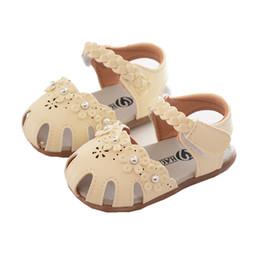 Baby Girl Cute Sandals Australia - Wholesale Toddler Baby Girl Shoes Summer kids designer shoes girls sandals Cute Beaded Flower Princess Sandals for Girls sandalias Beige