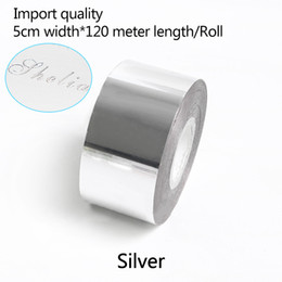 stamped leather NZ - 5CM Width*120 Meter  Silver Color Rolls Hot Foil Stamping Paper Heat Transfer Anodized Gilded Paper for Leather PU Wallet Hot foil stamping