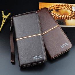 Retro Männer Leder Lange Geldbörse Reißverschluss Kupplung Brieftasche Berühmte Marke Handytasche Kartenhalter Münze Geld Tasche