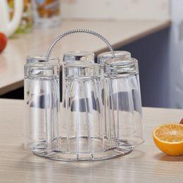 $enCountryForm.capitalKeyWord UK - Stainless Steel 6 Cups Mug Glass Stand Holder Drying Shelf Home Kitchen Hanging Drainer Storage Rack Home Storage