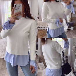 Wholesale blouse stitching resale online - Womens Casual Long Sleeve Striped Slim Blouse Elegant Bow Pullover Tops Blouse Shirts Winter Spring Female Stitching Blouse Hot