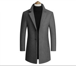 Wholesale mens wool coats resale online - Fashion Solid Lapel Neck Outwear Men Long Sleeve Trench Coats Spring Autumn Mens Outwear with Single Breasted