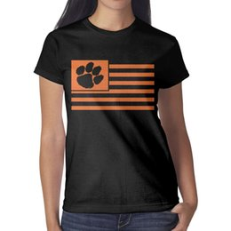 8aacf7b91457 Clemson Tigers Flag Womans T-shirts Casual Fitness Band T Shirts Design  Round Neck Shirts Ladies Wonder Woman T Shirt