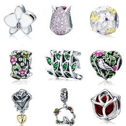 Metal Orchid Australia - BISAER Authentic 925 Sterling Silver Magnolia Orchid Cherry Cerise Rose Flower Beads Charms Fit Bracelets & Bangles Fine Jewelry