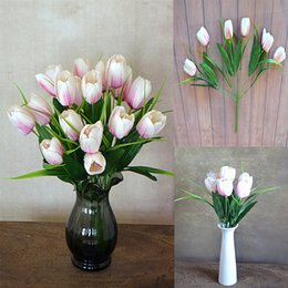 $enCountryForm.capitalKeyWord Australia - Cheap 1pcs 6 Heads PU Artificial Tulip Flower Latex Real Touch Bouquet For Wedding Party decoration