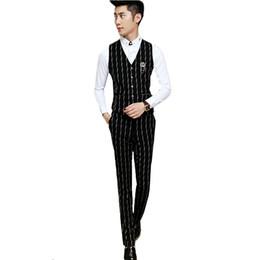 $enCountryForm.capitalKeyWord UK - 2019 Men Black Suit Pant and Vests Slim Design Men Dress Pants High Quality Business Banquet Striped Trousers
