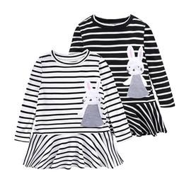 Long Sleeve Full Length Dresses UK - Newborn Baby Dress Autumn Spring Long Sleeve Striped Princess Girl Party Dresses Cartoon Rabbit Outfits Sundress Clothes 2-6T
