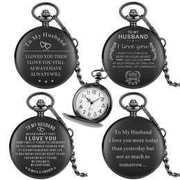 $enCountryForm.capitalKeyWord Australia - Special Pocket Watch for Men Significant Pocket Watches for Male Black To My Husband Series Quartz Pendant Watch Chain Lover