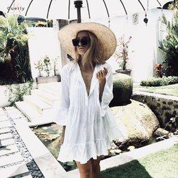 Casual white ruffled dress beaCh online shopping - Pleated Autumn Beach Dress Female Bohemian Flare Sleeve Pareos Sexy A Line Hot Ruffles Short Dresses Whte For Women