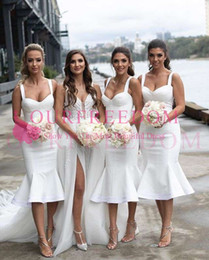 Discount plain satin wedding dress 2019 Elegant Spaghetti Bridesmaid Dresses Tea Length Mermaid White Plain Satin Maid Of Honor Wedding Guest Gown For Coun