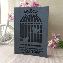 love birds laser cut Canada - 50PCS  lot Invitation Cards Hollow Laser Cut Nice Using For Earth Day Party Invitations Decoration Love Birds In The Cage Pattern