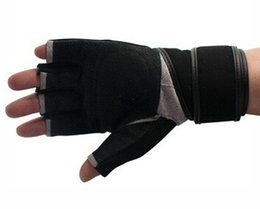 fingerless gloves grip Australia - Fashion-Hot sale Long Wristband Cuff Grip Glove Fitness Sports Mitten Training Leather Long Wrist Belt Weight Lifting Gym Gloves