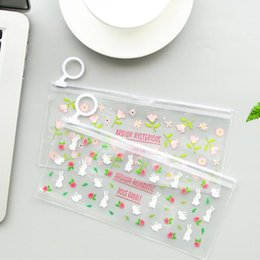 cute waterproof bag Australia - cute cartoons floral pencil bags case kawaii waterproof transparent pvc pen bag stationery storage bag organizer office school supplies