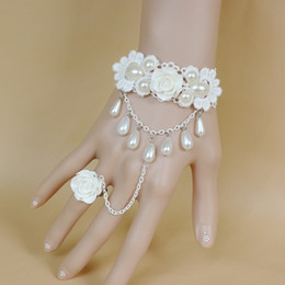 Belly dancing Bracelets online shopping - New fashion pearls lady girl dancing latin belly performance chain link bracelet