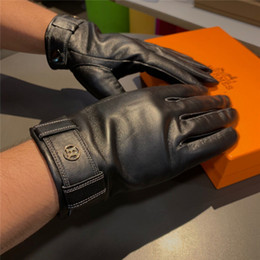 winter man genuine leather gloves NZ - Generous Male Gloves Autumn Winter Genuine Leather Outdoor Golf Gloves Distinctive Fluff Motorcycle Five Fingers Gloves for Men