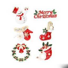 indian clothing brooches NZ - 2019 New Christmas Brooch Snowman Hat Enamel Alloy Clothing Pin Cartoon Christmas Socks Brooch Gift Dress Accessories For Party