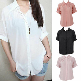 Wholesale plus size puff sleeve tops online – Women Short Sleeve V neck Solid Tops Casual Loose Fashion Blouses Shirt Plus Size Summer