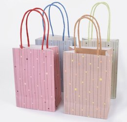 Dots Gift Paper Australia - Foil Dot Gift Bag with Handle Kraft Paper Gift Bag Festival gift bags DIY multifunction shopping bags