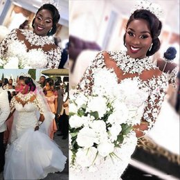 hot spring covers Australia - 2019 Hot African Lace Mermaid Wedding Dresses Bridal Gowns Lace Appliques Beaded Tulle Illusion Long Sleeve Covered Vestidos De Novia